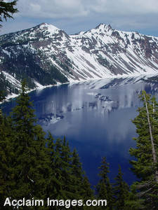 Stock Photo of Crater Lake, the Deepest Lake in the United States