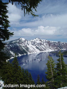 Stock Photo of Crater Lake Located in Southern Oregon