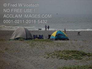Stock Photo Clip Art of People Camping On a Beach
