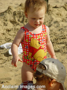 Stock Image of a Toddler in a Swimsuit