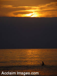 Stock Picture of Sunset at Pacific Beach, San Diego, California