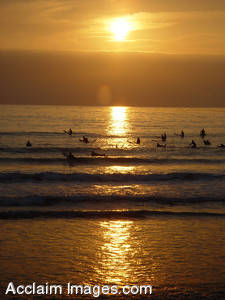 Stock Photo of Sunset Surfing at Pacific Beach