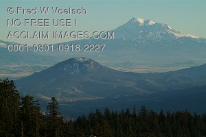 Stock Image of Mt Shasta in Northern California