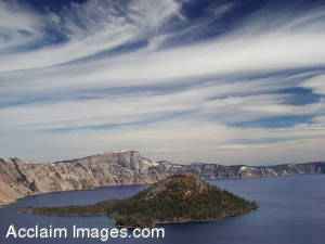 Stock Photo of Crater Lake with Beautiful Clouds Filtering in