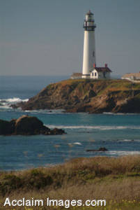 Stock Photo of a Coastline Lighthouse at Pigeon Point, California