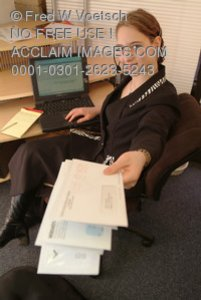 Clip Art Stock Photo of a Receptionist Holding Mail
