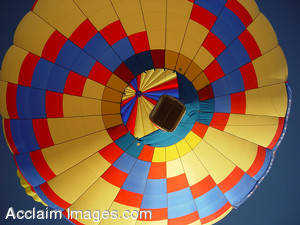 Stock Photography of a Colorful Hot Air Balloon From Underneath