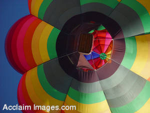 Stock Photo of a Colorful Hot Air Ballon From Underneath
