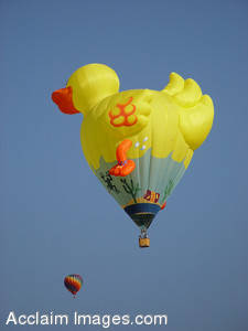 Stock Photo of a Duck Shaped Hot Air Balloon