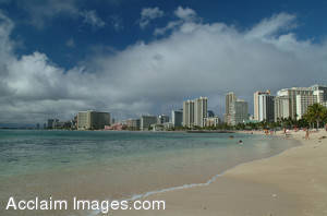 Stock Photo of the Beach at Waikiki