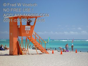 Stock Photo of a Lifeguard Tower on the Beach