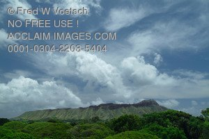 Stock Photo of a Cloudy Day Over a Mountain