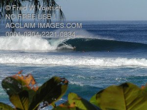 Stock Photo of The Bonzai Pipeline on the North Shore of Oahu