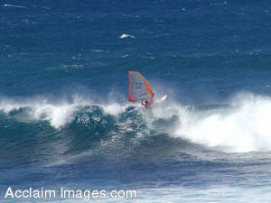 Stock Photography of Windsurfing in Hawaii