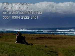 Clip Art Stock Photo of a Couple Watching The Waves, Maui, Hawaii