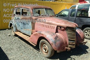 Stock Photo of a Beat-Up Old Classic Car