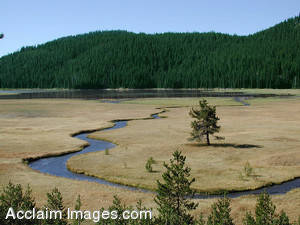 Stock Photo of a Winding River in Oregon
