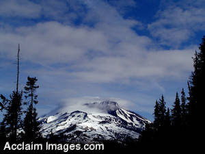 Stock Photo of a Snow Covered Mount Bachelor
