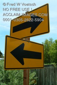 Stock Photo of a Road Sign With Two Arrows