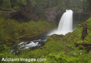Stock Photo of the Sahalie Falls Waterfall in Central Oregon