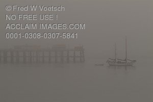 Stock Photo of a Boat in Fog on Monterey Bay