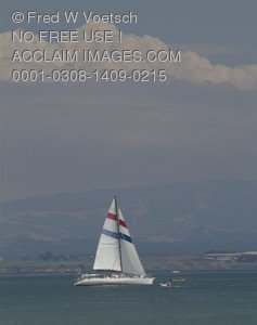 Stock Photo of a Boat Sailing on Monterey Bay