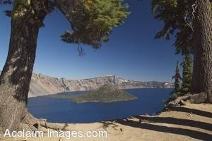 Stock Photo of Wizard Island at Crater Lake