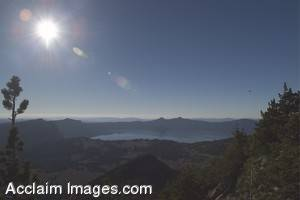 Stock Photo of Crater Lake Viewed From Mt Scott