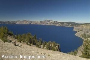 Stock Photo of the Barren Side of Crater Lake