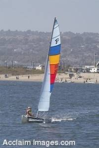 Stock Photo of a Sailboat on Mission Bay, California