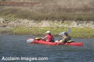 Stock Photo of a Couple in Mission Bay Kayaking