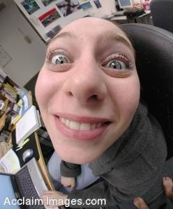 Picture of a Smiling Woman as Viewed Through a Fisheye