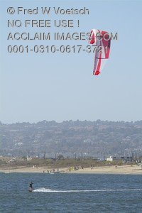Stock Photo of Parasurfing on Mission Bay, San Diego