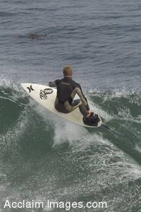 Stock Photo of a Surfer Surfing The Lane in Santa Cruz