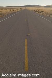 Stock Photo of the Two Lane Highway 395