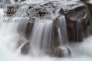 Stock Photo of Water Flowing Over Rocks at The Rogue River Gorge