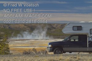 Stock Photo of a Camper at Yellowstone National Park