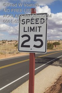 Stock Photo of a 25MPH Speed Limit Sign