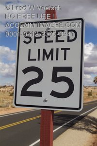 Stock Photo of a 25 Speed Limit Sign