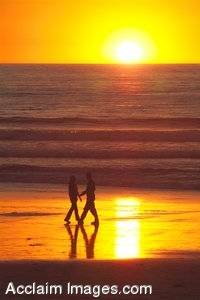 Stock Photo of a Romantic Sunset On The Beach