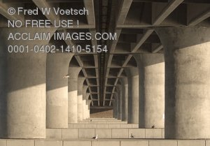Stock Photo of a Repeating Pattern of a Bridge Underpass