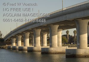 Stock Photo of the Mission Bay, San Diego Bridge