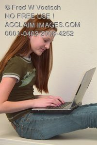 Stock Photo of a Girl With a Laptop