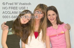 Stock Photo of a Mother and Two Girls