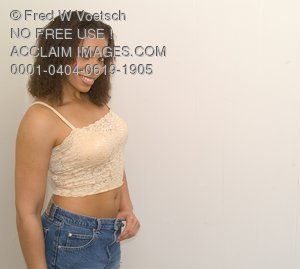Stock Photo of a Young Woman in a Cropped Top