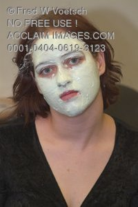 Stock Photo of a Woman Wearing a Facial Mask
