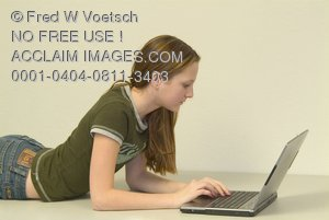 Stock Photo of a Girl Working on a Laptop
