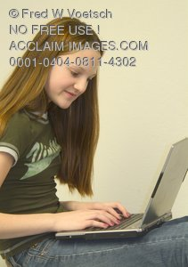 Stock Photo of a Gril With a Laptop