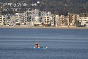 Stock Photo of a Kayaker on Mission Bay, San Diego