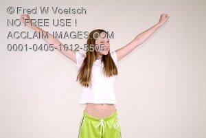 Stock Photo of a Girl With Her Arms Raised